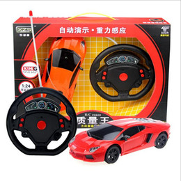 Wholesale Race Car Boxes - Wholesale-High qultity rc car toys for children,4 types gravity sensor remote control racing car model with mini steeling wheel 4 channels