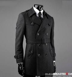 Wholesale Trench Coat Men 4xl - Fall-Belt winter Grey manteau homme wool coat men coat veste homme overcoat men trench coat fashion brand plus size M - 7XL 8XL 9XL