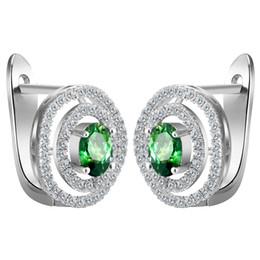 Wholesale Princess Cut Cz Earrings - Wholesale- Pretty Silver Plated large hoop earrings Princess Cut MultiColor Green Zircon CZ hoop earrings For women Jewelry accessories