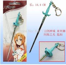 Wholesale Asuna Sword Metal - 50pcs Japan Anime Sword Art Online Asuna Pendant Shimmering 14.4cm Keychain Action Figure 1206#06