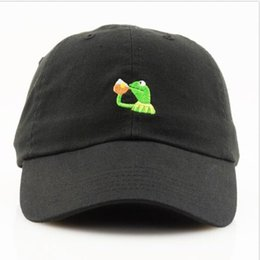 Wholesale Bears Red - KERMIT NONE OF MY BUSINESS UNSTRUCTURED DAD HAT CAP FROG TEA LEBRON JAMES NEW casquette kenye west ye bear dad cap yeezus hat