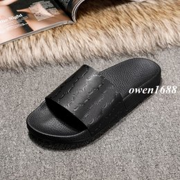 Wholesale Womens Heels Nude - new arrival 2017 mens and womens fashion Signature leather slide sandals slippers summer outdoor beach flip flops