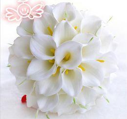 Wholesale Beautiful Lily - Beautiful White Yellow Calla Lily Wedding Bouquet Brides Bridesmaid artificial flower buque de noiva bouquet wedding bouquet