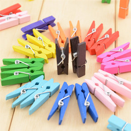 Wholesale colour clip - 3.5cm Colour wood clip DIY hand decorated photo clip Wooden clip home decoration 100pcs bag IA951
