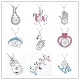 Wholesale Elegant Horse - New Beauty Fashion Rhinestone Elegant Snap Heart Love Horse Eye Necklace Fit Diy 18Mm Snap Buttons Jewelry Wholesale D007 D010