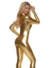 Al por mayor-Ainclu 2016 Nuevo Gold Zentai Low-Cut Shiny Metallic Jumpsuit para Mujeres desde fabricantes