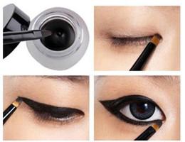 Sombras de ojos negras online-Set de Cosméticos Negro Liquid Eyeliner Waterproof Eye Liner Lápiz Shadow Gel Eyeliner Makeup + Black Brush MK0005