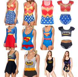 Wholesale Superman Swimwear Bikini - Women BATMAN Bikini SUPERMAN Swimwear One Piece Bathing Beachwear WONDER WOMAN Swimsuit Sexy Swim Suit Swimming Print Dress 2016