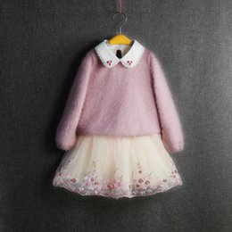 Wholesale Pink Sequin Sweater - Girls Wool Dresses With Velet Sequins Embroidered Flora Lace Collar TUTU Skirts Grenadine Fashion Girls Winter Thick Sweater Dresses 3-8T