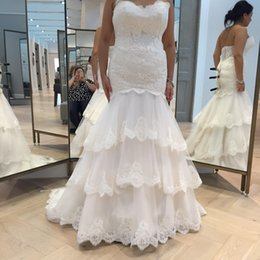 Discount sweetheart tier mermaid wedding dress - Chic Mermaid Lace Plus Size Wedding Dresses 2016 Real images Sweetheart Appliques Cascading Ruffle Court Train Bridal Gowns Robe de Mariage