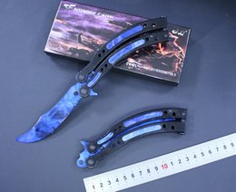 Wholesale edge training knives - NEW cs go Butterfly knife Karambit folding knife blade gift training knife no edge knives