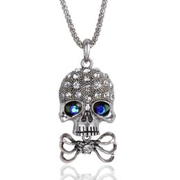 Wholesale Skull Head Sweater - Unisex Women Men Long Sweater Chain Pendant Necklace Antique Silver Copper Plated Skull Heads Fashion Jewelry