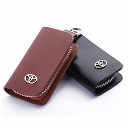Wholesale Toyota Highlander Leather Key Cover - Car Genuine Leather Bag Remote Control Car Keychain Key Cover Case For Toyota Camry Highlander Crown S222
