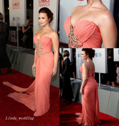 Wholesale Lovato Size - Demi Lovato Red Carpet Evening Dress High Quality Floor Length Long Chiffon Special Occasion Dress Celebrity Dress Party Gown