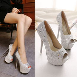 Wholesale Shining Diamond Shoes - 16cm Super High Heels Women Shine Diamond Sexy Peep Toe Pumps Lady Woman Party Wedding Club Shoes Free Shipping