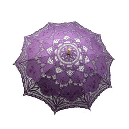 Wholesale Lace Parasols For Weddings - 10pcs Vintage Colorful Lace Manual Opening Wedding Favors Umbrella Bridal Parasol For Wedding Bridal Shower Umbrella ZA0955