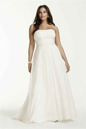 Wholesale Simple Wedding Dresses Empire Waist - Strapless Chiffon Empire Waist Plus Size Wedding Dress 9V9743 Applique Lace Beading 28W Bridal Gowns Customized Made