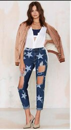 Wholesale Big Star Capris - 2016 Big Hole Jeans for Women With Five-pointed Star Ripped Jeans Light Blue Denim Pants boyfriend jeans for women