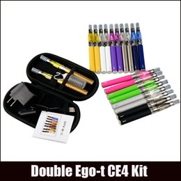 Wholesale Ego T Cigarette Dual - Ego-t Double starter kits electronic cigarette CE4 atomizer clearomizer 650mah 900mah 1100mah 1300mah battery ego t battery ego dual kits