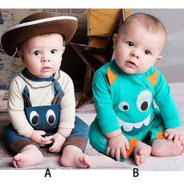 Wholesale Grey Baby Jumpsuit - long sleeve cow baby boys rompers kids newborn bodysuits grey solid children sleepwear baby girls jumpsuits outfits infant toddler