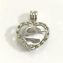 Wholesale Hearts Symbols - Superman Letter S Heart-shaped Locket Cage Pendant Mounting, Letter Symbol Style DIY Pearl Bead Pendant Necklace Fitting Lovely Charms