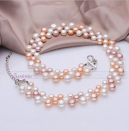 Wholesale Pearl Choker Necklace Row - 3 row natural freshwater choker multilayer pearl necklaces women,real pearl necklace wedding bridesmaid collar mom birthday gift