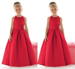Wholesale Cheap Baby Caps - Red Satin Girls Pageant Gowns 2016 Crew Sleeveless a Line Flower Girl Dresses For Wedding Floor Length Cheap Baby Girl Red Party Dresses