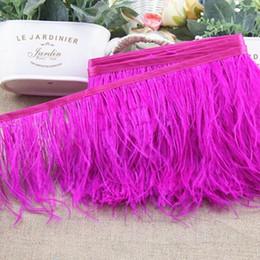 Tecido de avestruz on-line-Ostrich Feather Corte 10m / lot baratos muitas cores de penas de avestruz Fringe 5-6inch de largura Vestidos Tecidos Acessórios 10yards Feather guarnição
