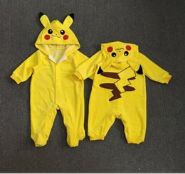 Wholesale Girls Playsuit Jumpsuit - Poke Go Toddler Infant Baby Boy Girl Clothes Pikachu Baby Romper Outfit Long Sleeve Jumpsuit Playsuit free shipping in stock