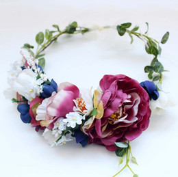 Wholesale Floral Wedding Head Wreaths - Bride flowers wreath Wedding princess hair bands stereo rose flowers beach tourism photography garlands beach Head Wreaths C2278
