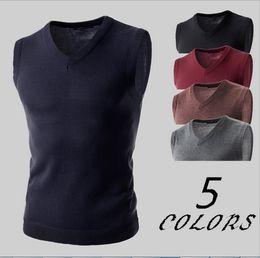 Wholesale Black Sweater Vest Men - 2016 crime pullover sweater vest v-neck new sweater knitted cotton + 100% class size slim vest size M - 2 xl
