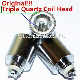 Wholesale triple coils - MOQ=100pcs Original Triple Quartz Coil Head With Quartz Bowl For Glass Globe Atomizer Cannons Bowling Atomizer Glass Wax atomizer Coils
