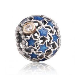 Auténtica plata de ley 925 cielo nocturno azul esmalte estrella fit marca pulseras bricolaje calado 14 k chapado en oro encantos de navidad joyería fina hb245 desde fabricantes