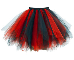 Wholesale Tulle Crinoline Skirt - 2017 Rainbow Tutu Skirts Petticoats Crinolines Women Dance Tulle Dance Halloween Costume Cosplay Tutus Party Bubble Skirts 21 colors