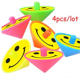 Wholesale Birthday Party Prizes - Wholesale- 4Pcs Plastic Spinning Top Kids Toys Retro Goodie bags Pinata Fillers Kids Birthday Party Favors Supplies Carnival Prize