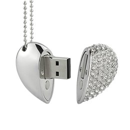 Usb flash china en Ligne-2G 8G lecteur flash USB argent diamant coeur usb lecteur flash luxueux usb lecteur flash de shenzhen Chine