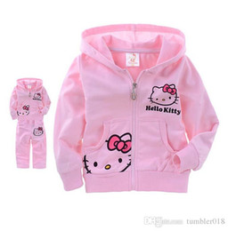 Wholesale Girls Velvet Tracksuits - Girls and boys sets kids tracksuits kids Cartoon KT cat coats and pant 2pcs sets size 2-6T autumn winter coats With velvet.