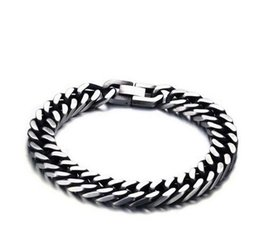 Wholesale Pulseras Hip Hop - 8mm 10.5mm Wide Bracelets Gift for Man Unique Simple Stainless Steel Bracelet Hip Hop Rock Jewelry Pulseras