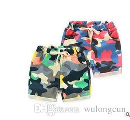 Wholesale Kids Cargo Trousers - Camouflage kid shorts camo cargo shark camouflage shorts outdoor sport trousers 2016 New fashion casual cotton beach board shorts