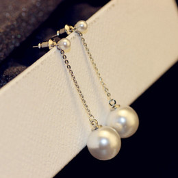 Wholesale Elegant Pearl Drop Earrings - Korean Pearl Earrings Elegant Crystal Long Earrings Top Quality Fashion Drop Dangle Earrings for Women Wedding Party Costume Jewelry