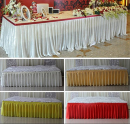 Wholesale Wedding Decoration Table Cloths - 2016 Fashion colorful ice silk table skirts table cloth runner decor wedding table skirt  hotel table decoration