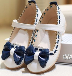 Wholesale Child Pink Dress Shoes - SOFT Girls white dress shoes models bowknot princess shoes light leather Korean students baby leather shoes for children