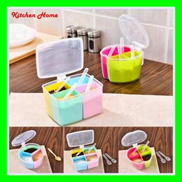 Wholesale plastic kitchen containers - Plastic Colorful Kitchen Sauce Box Salt Jar Spice Case Seasoning Jar Peper Storage Sauce Container with Lid and spoon 3 4 boxes