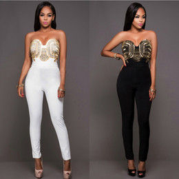 Wholesale Plus Size White Rompers - 2016 Top Sale Plus Size Polyester Solid beading Skinny Jumpsuits & Rompers For Women tight Mujer Slim Casual Jumpsuit