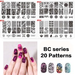 Wholesale Laced Nail Stamp Designs - 12X6CM BC Series 20 Designs Pattern New Design DIY Nail Art Image Stamp Lace Stamping Plates Manicure Template Tool