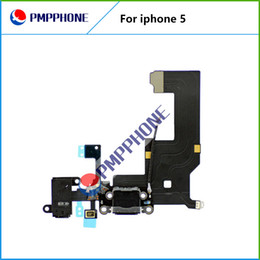 Wholesale Apple Iphone 5g Iphone5 - 100% Original Dock Connector USB Charging Port For iPhone 5 5G With Headphone Jack Tail Plug Flex Cable White Black For iPhone5