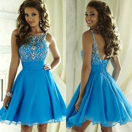 Wholesale Knee Lenght Royal Blue Dress - Sexy Short Homecoming Dresses 2016 Beaded Crystal Knee Lenght Short Prom Dresses Chiffon Lace Up Back Formal Backless Short Prom Dresses