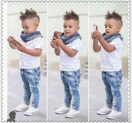 Wholesale shirt denim jeans baby - baby boy clothes children clothing boys 3pcs suit Kids short sleeve White T shirt and denim Jeans Scarf Outfits Sets Clothes summer spring