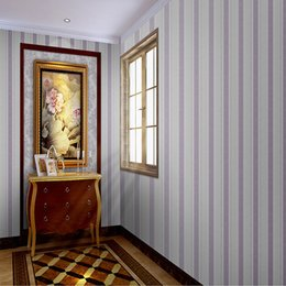 Wholesale Vertical Stripes Wall Paper - 53cm*10m Roll Wallpapers European Style Plastic PVC Wallpaper Stereo vertical stripes For Bedroom or Living room wall Home Deco