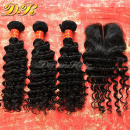 Wholesale Deep Weft Hair - Lace Closure With Brazilian Hair Bundles Deep Wave Human Hair Weave Unprocessed Hair Indian Malaysian Peruvian Hair Extensions